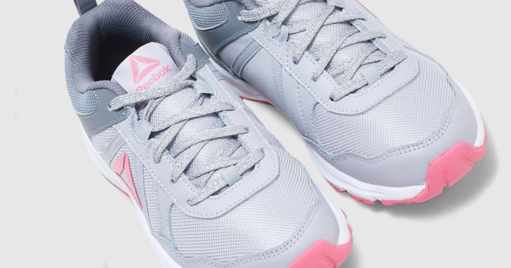 reebok almotio kids shoes gray and pink