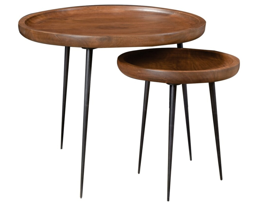 scott living accent tables two nested brown wood tables