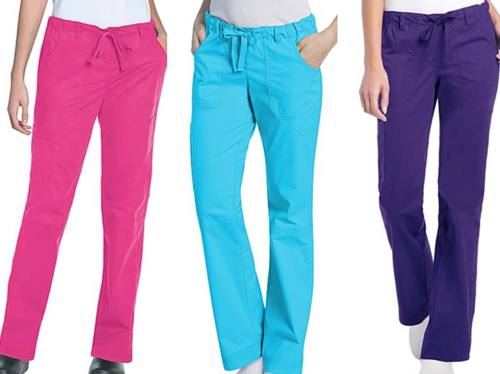 3 women wearing multicolored scrub pants