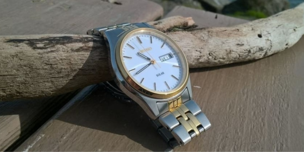 seiko stainless steel with gold watch outside on a log