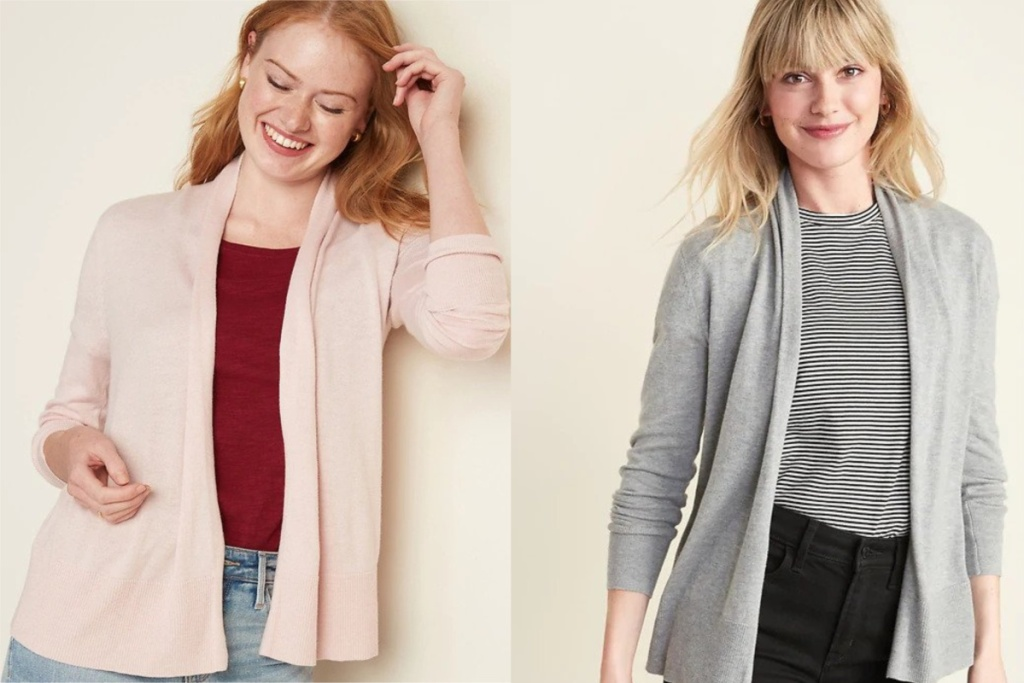 shawl cardigan at old navy on two women