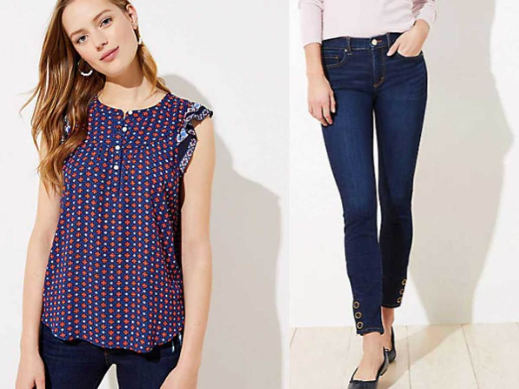 women's shirt and jeans