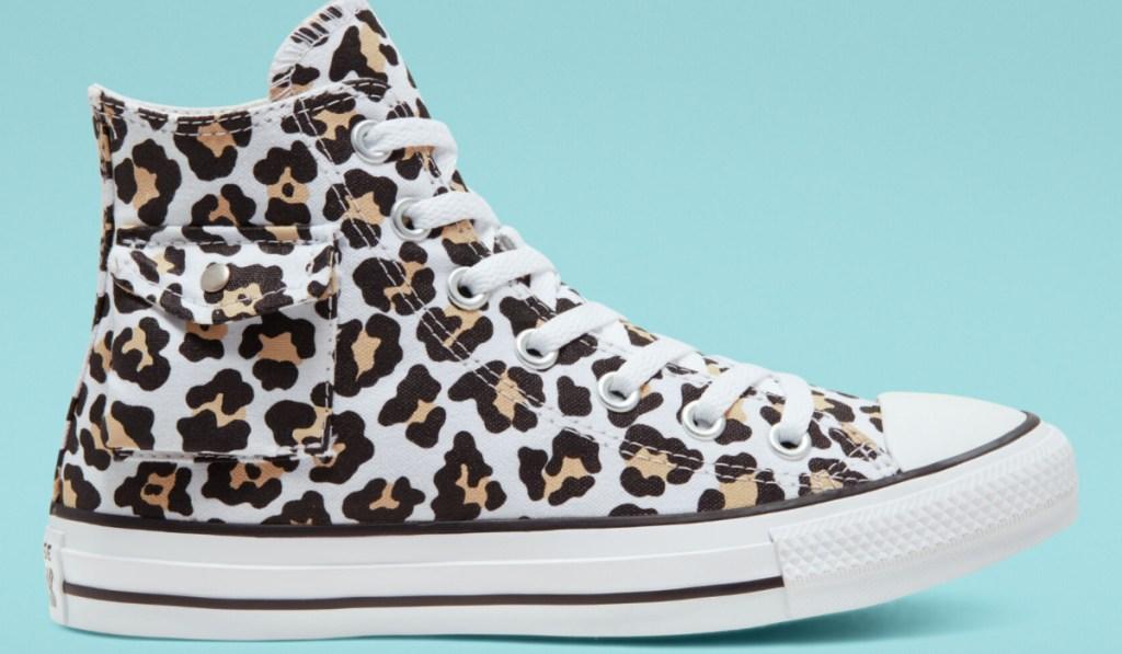 side pocket chuck taylor leopard print one shoe