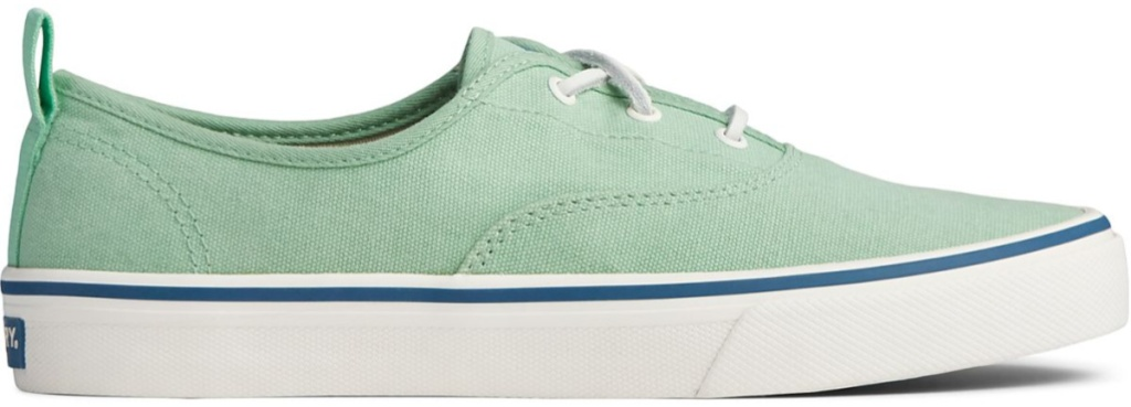 mint and white sperry shoes