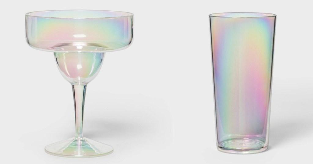 iridescent plastic margarita glass and tumbler