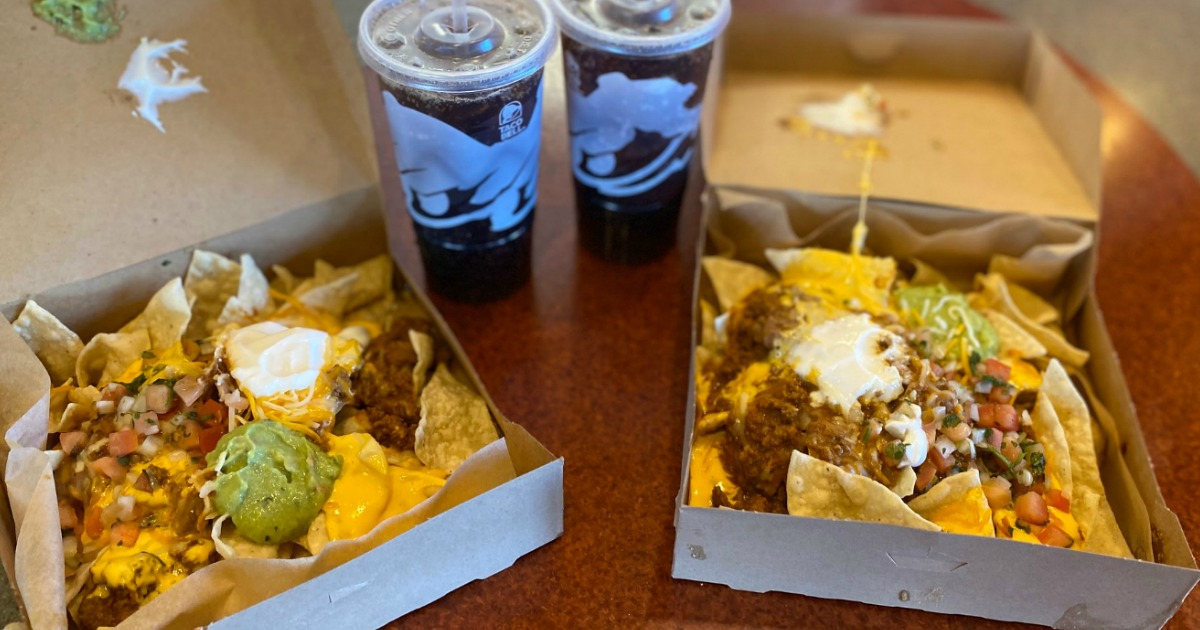two drinks and nacho craving packs from Taco Bell