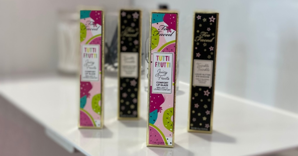 Too Faced Tutti Fruitti lip glosses on display in store