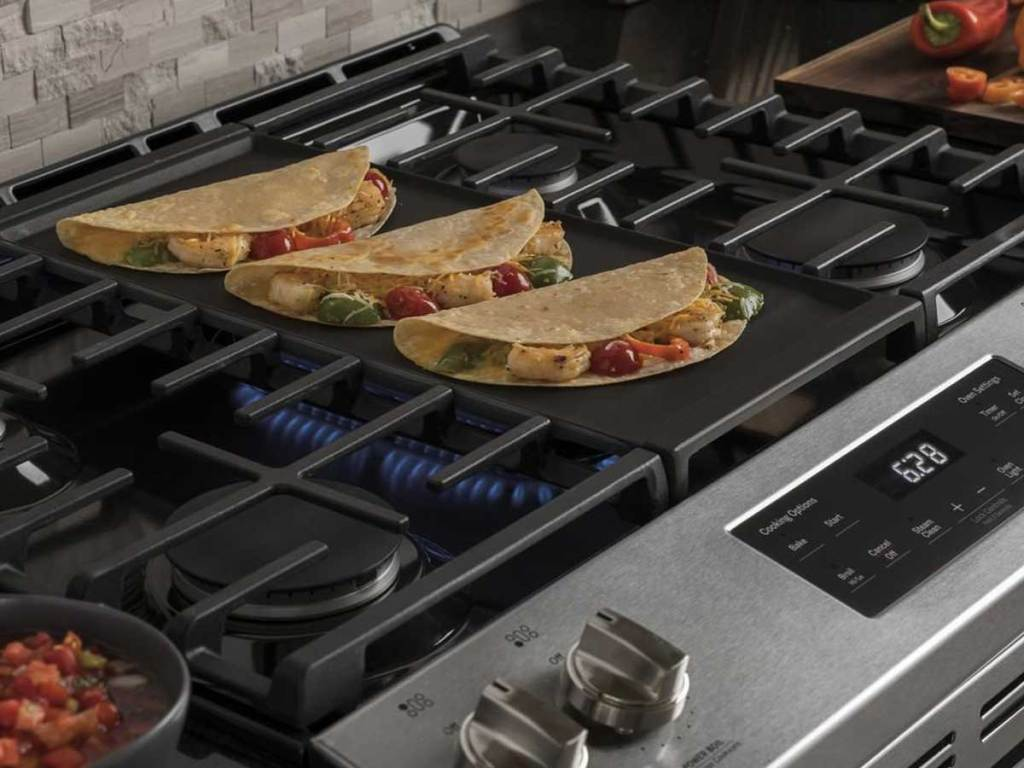 Top of GE Gas Range with quesadillas