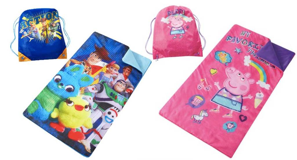 toy story 4 and peppa pic sleeping bags wth sling bags