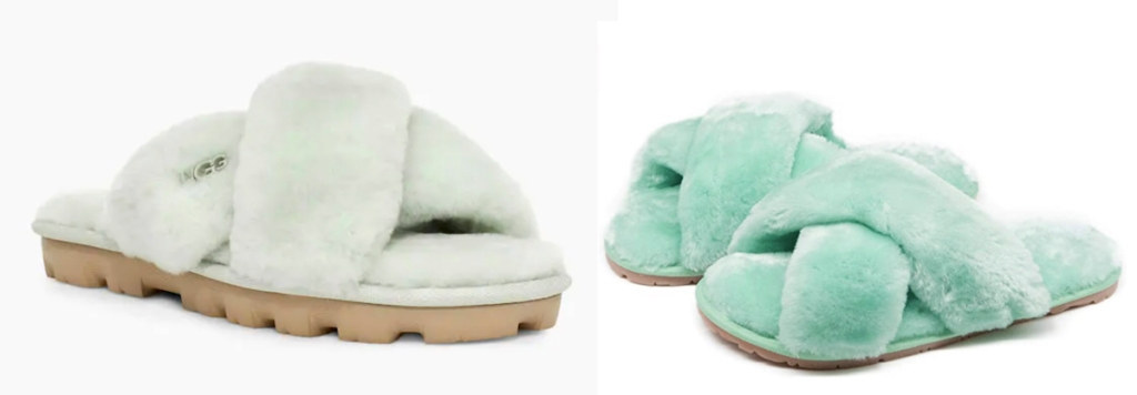 green pairs of slippers with stock white background