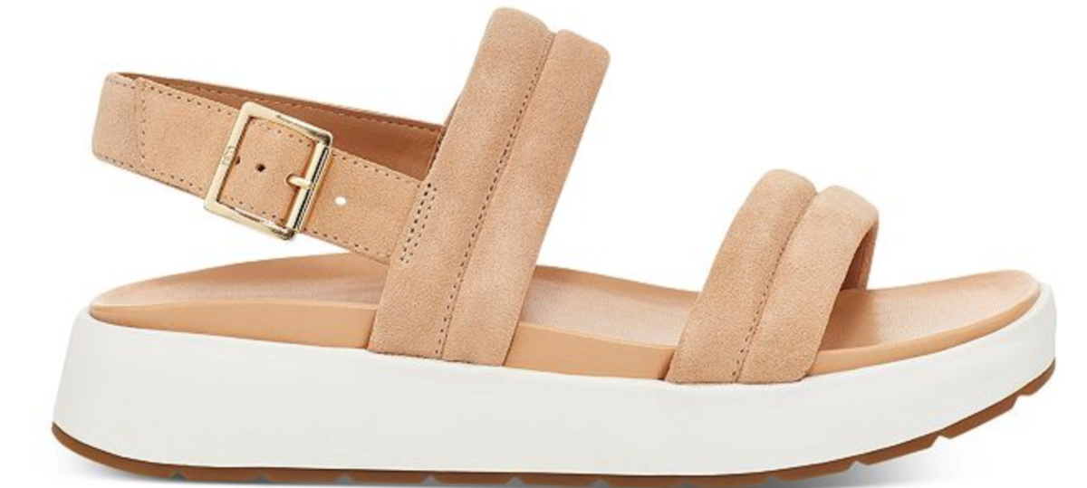 bronze sandals with a buckle and white soles