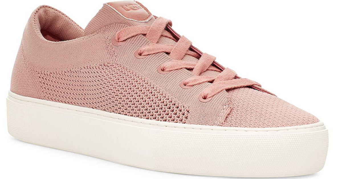 side view of pink ugg lace up shoes