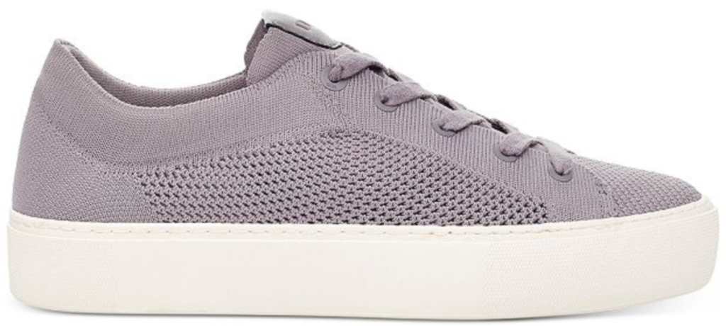 purple sneakers with white sole