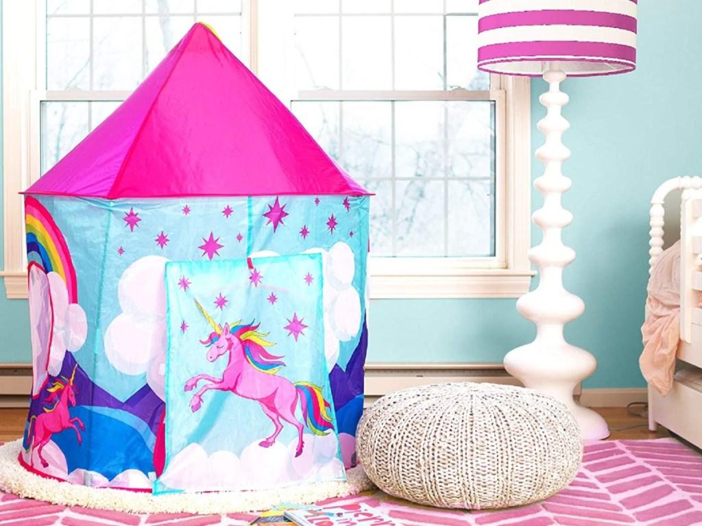unicorn play tent in girl's bedroom