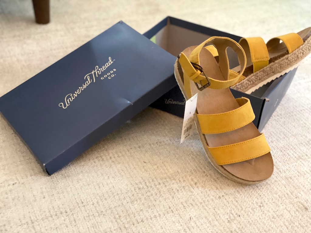 Mustard colored sandals in Universal Thread shoe box