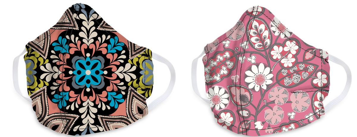 front view of patterned masks