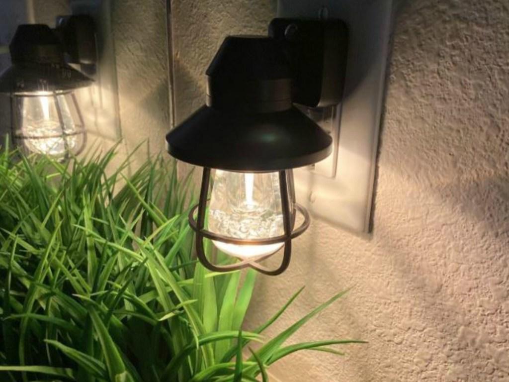 bathroom plug with night light by plant