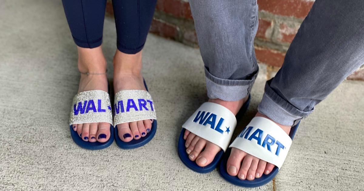 man and woman wearing Walmart logo fashion slides