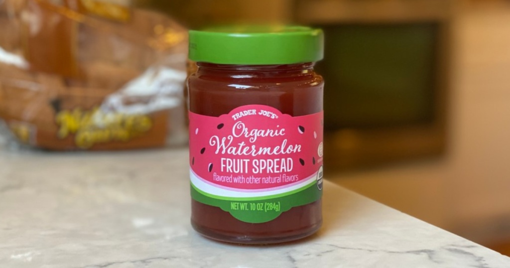 watermelon fruit spread on counter next to bread