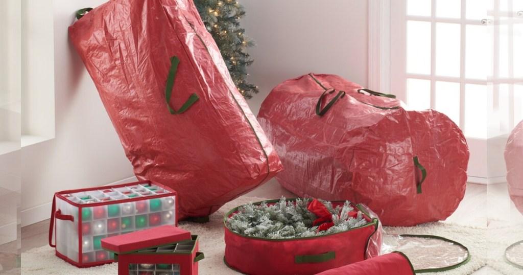 whitmor christmas storage bags with christmas tree