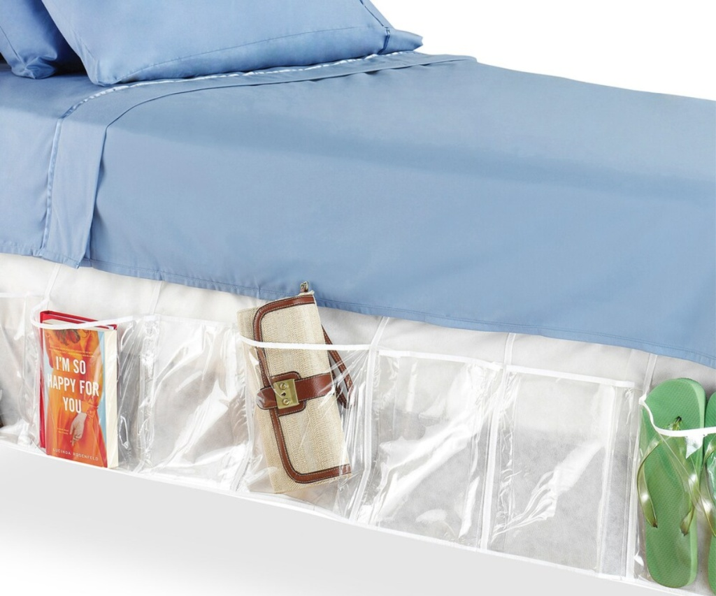whitmor organizing bedskirt on bed with blue sheets