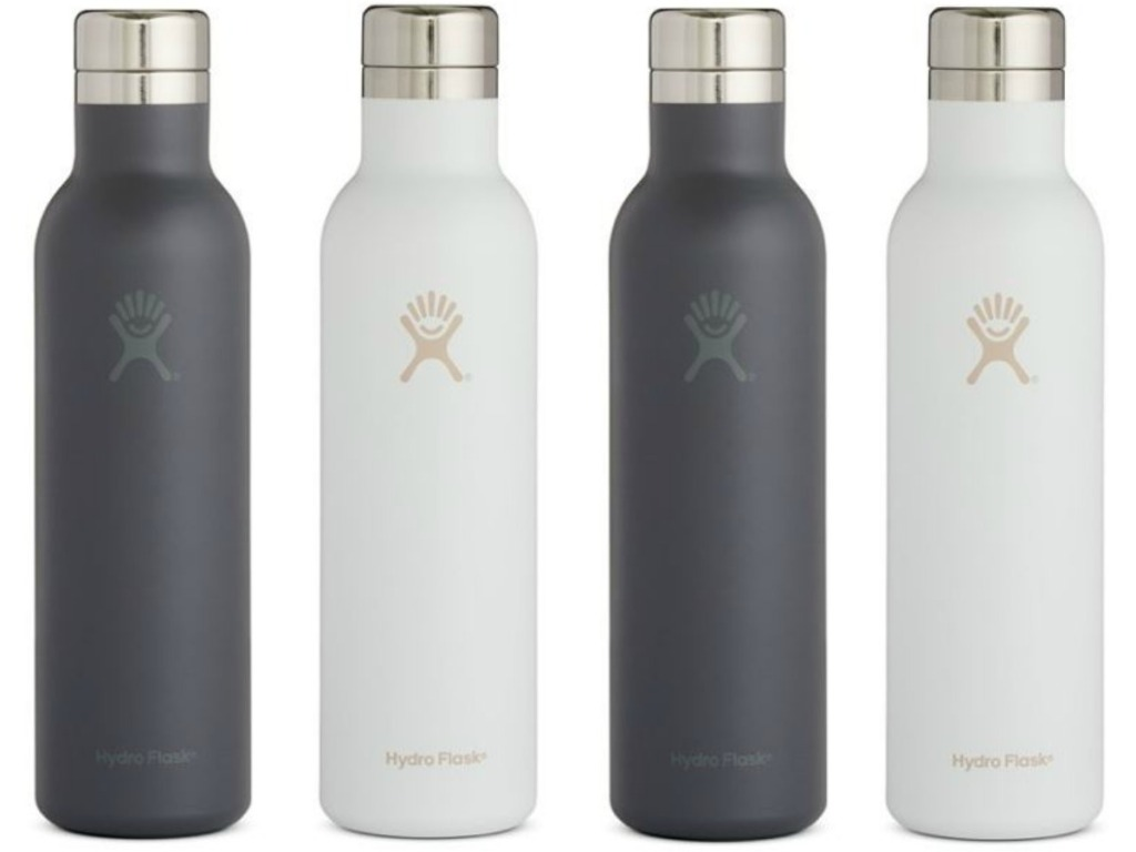 four water bottles in wite and grey