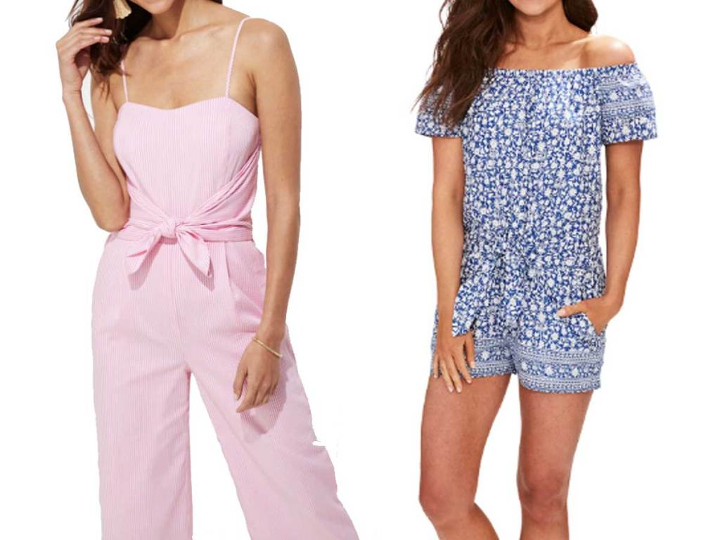 models wearing jumpsuit and romper