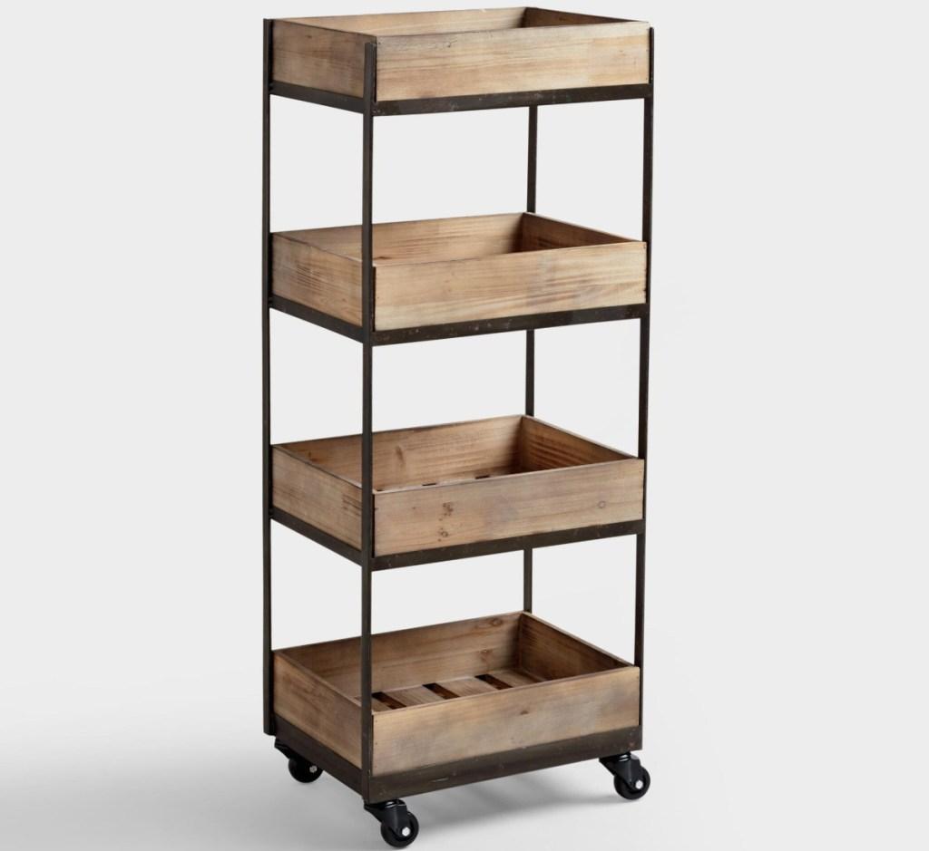 wooden 4-tier storage cart