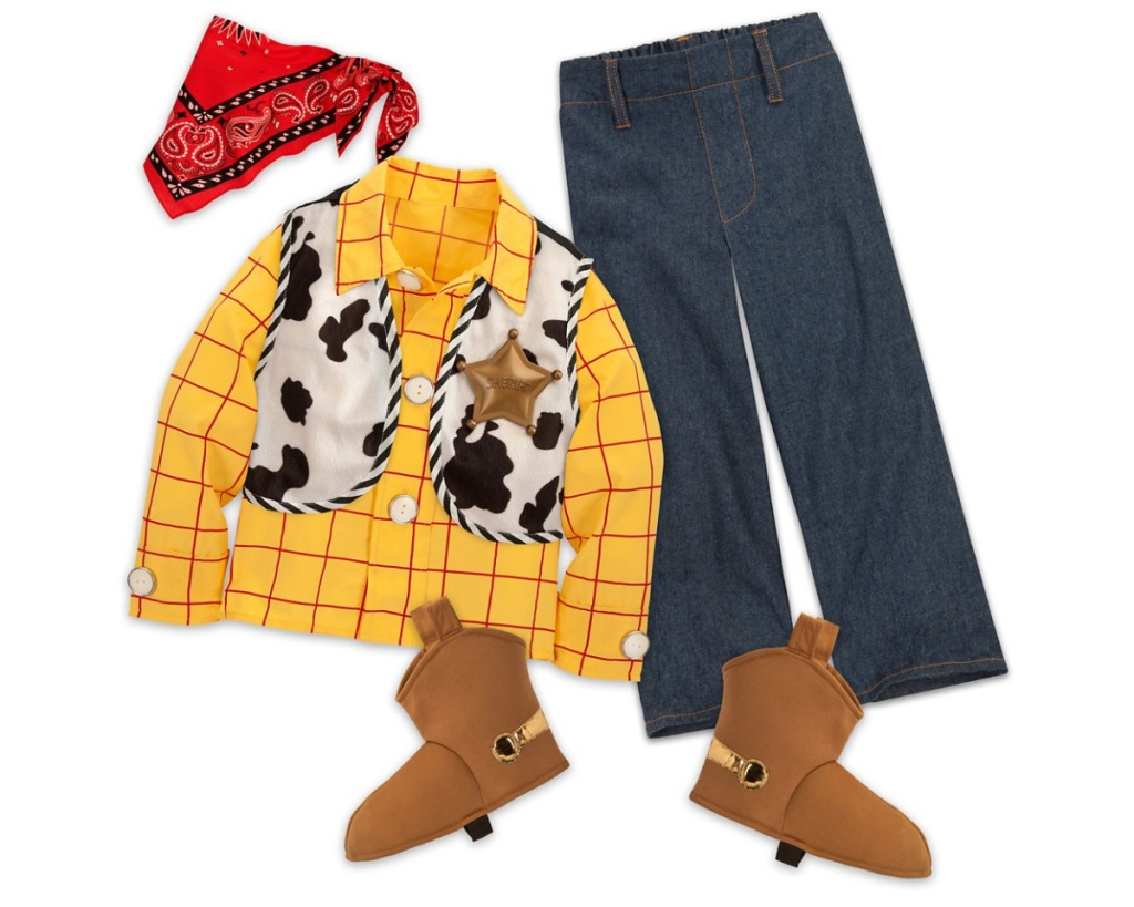 Kids Toy Story Woody costume with boots, bandanna, shirt, and pants