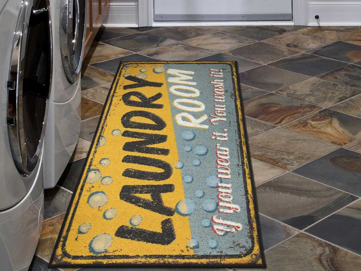 laundry room runner rug in yellow and blue in room