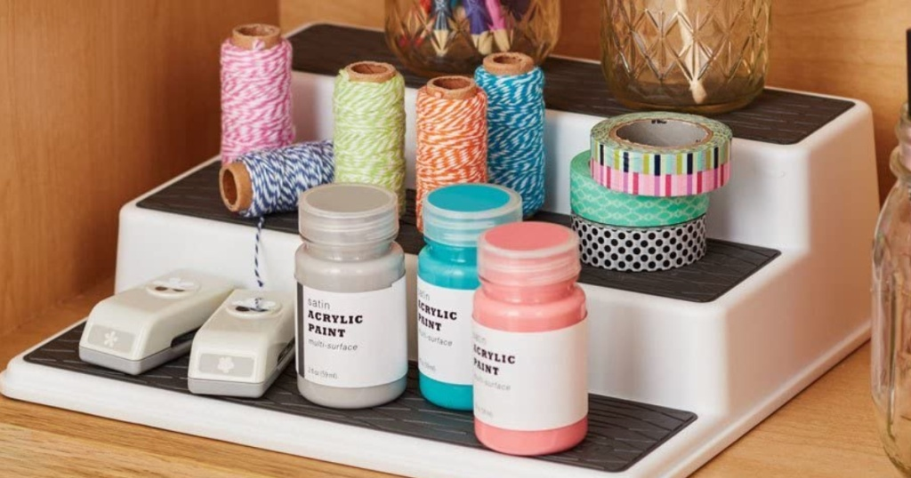 3-tier shelf filled with craft supplies