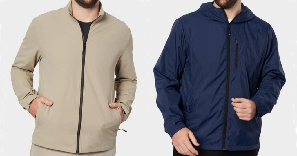 2 men wearing tan nd navy blue lightweight jacket