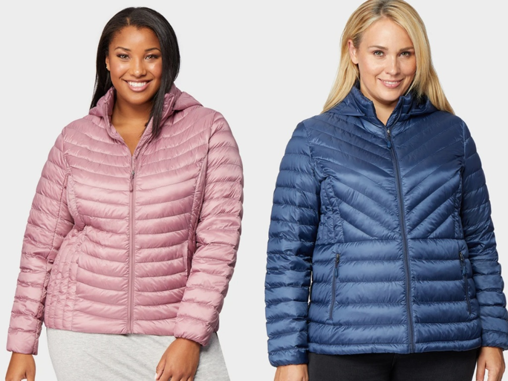 2 women wearinglightweight packable jackets