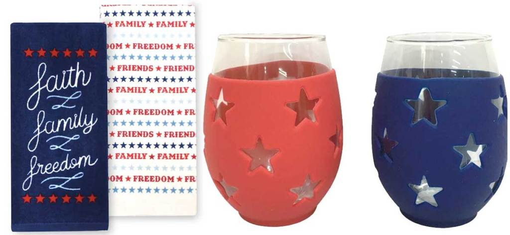 fourth of july kitchen towels and wine glasses