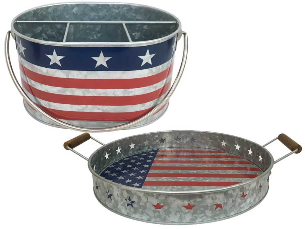fourth of july silverware caddy and tray