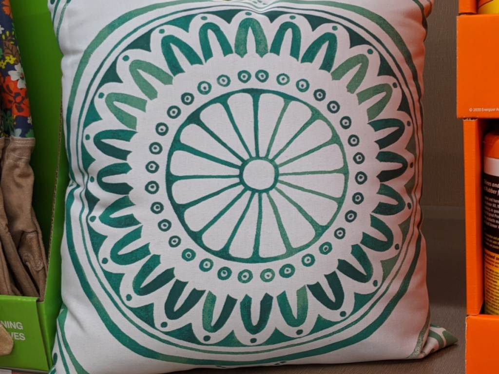 outdoor teal and white throw pillow