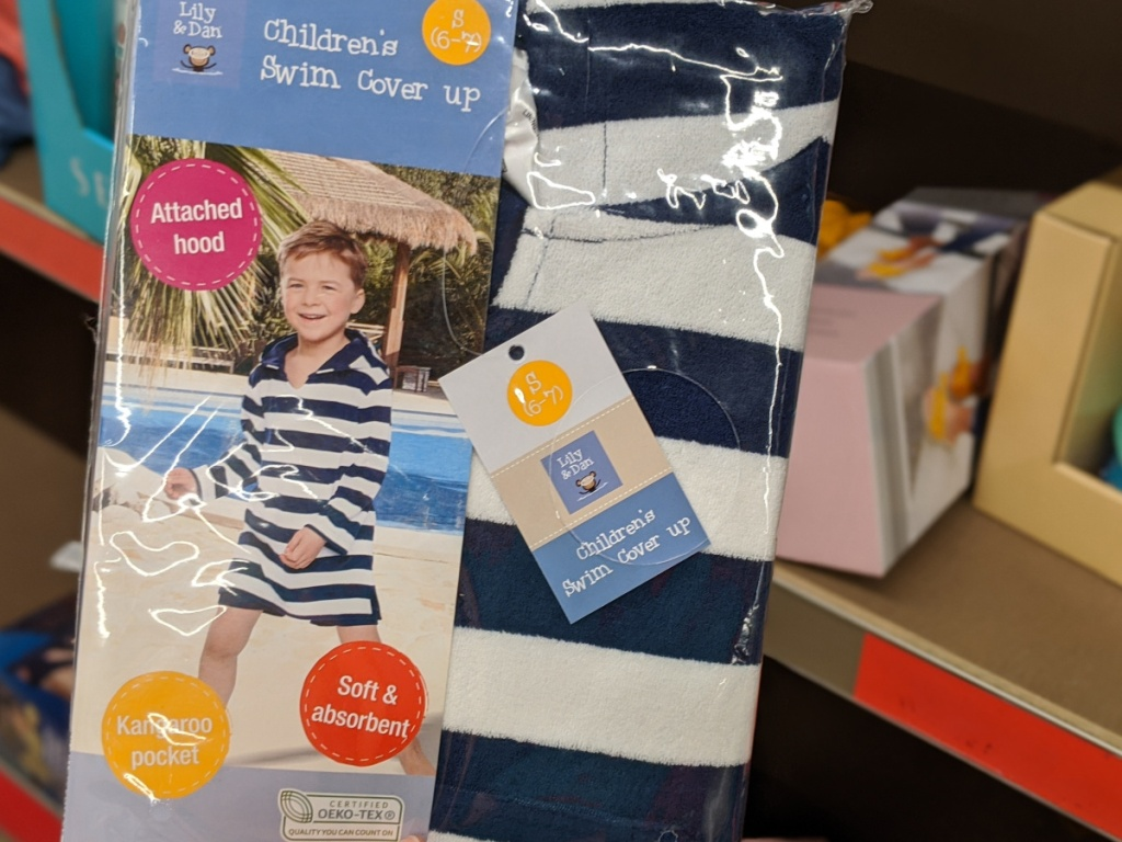 navy blue and white stripe children's pool beach cover up