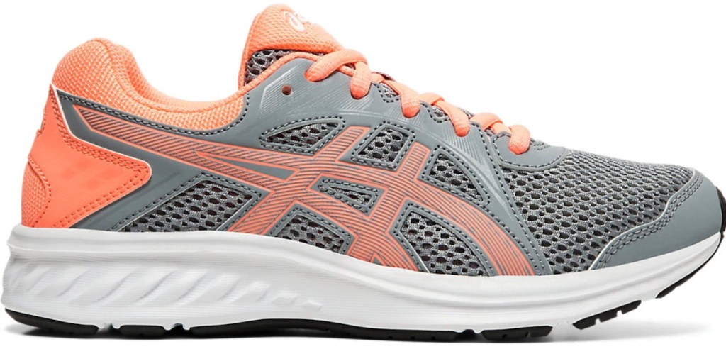 grey and salmon colored asics kids shoes