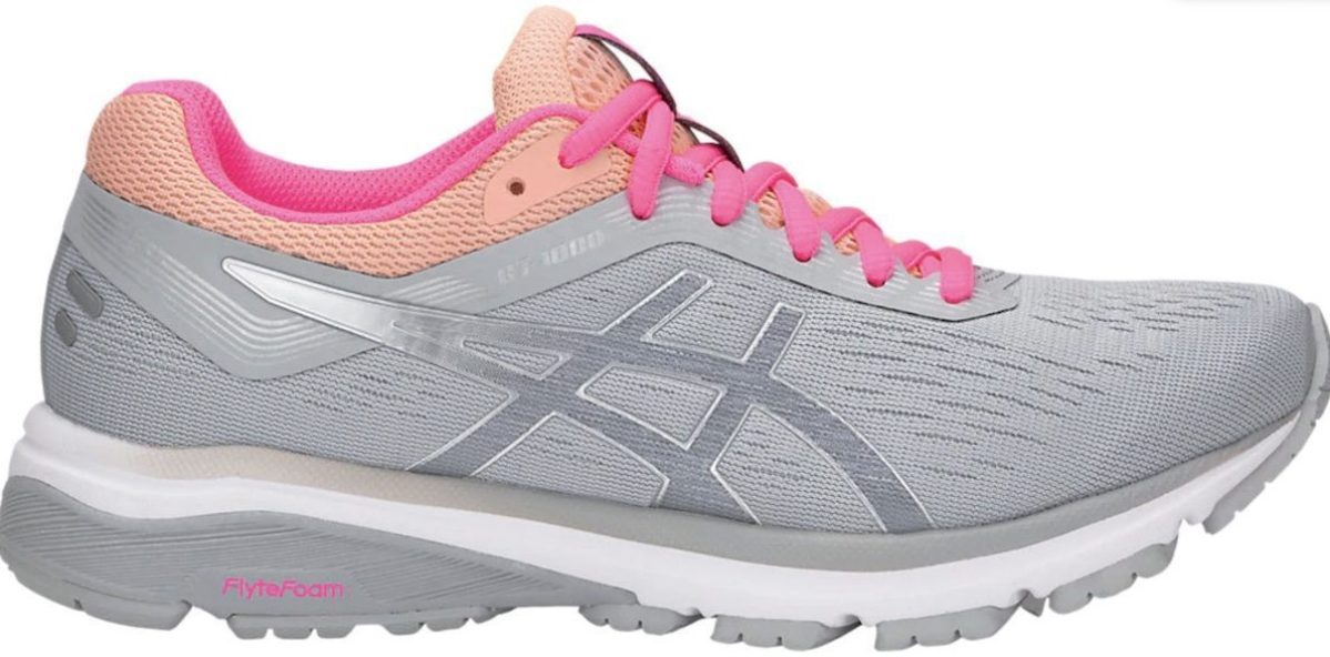 grey, silver, pink, and salmon colored ASICS Women's GT-1000 Running Shoes