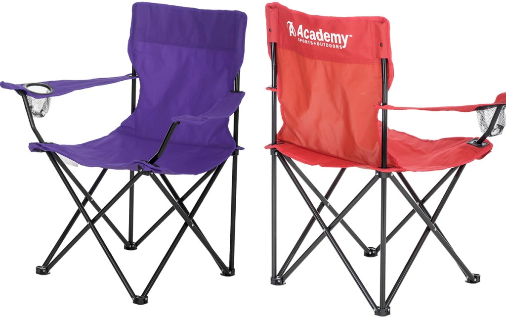 purple and red folding camping chairs with mesh cup holders