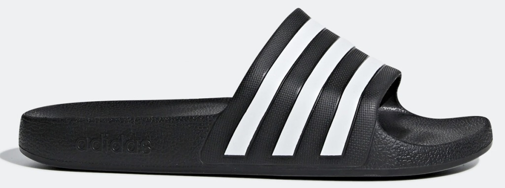 black adidas slide sandal with three white stripes on top strap