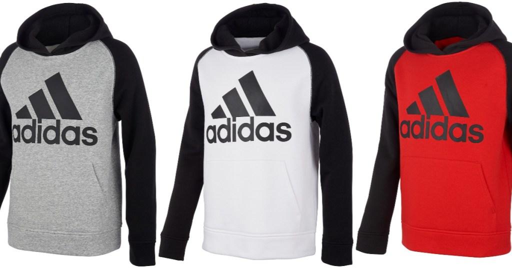 Adidas Big Boys Colorblocked Fleece Hoodies