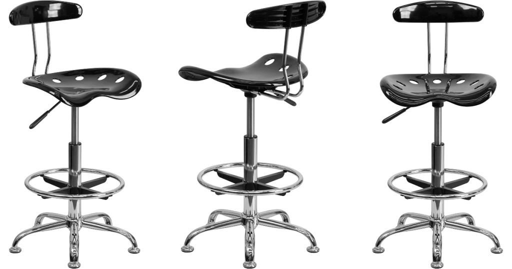front side and back views of drafting stools