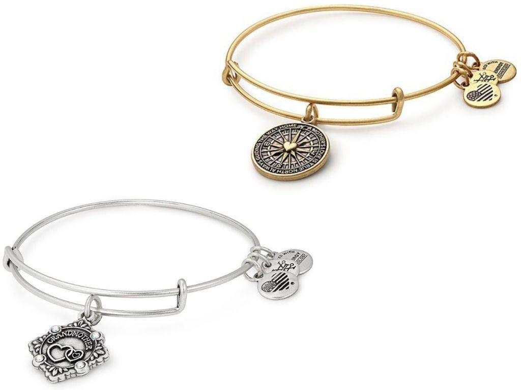 two charm bangle bracelets