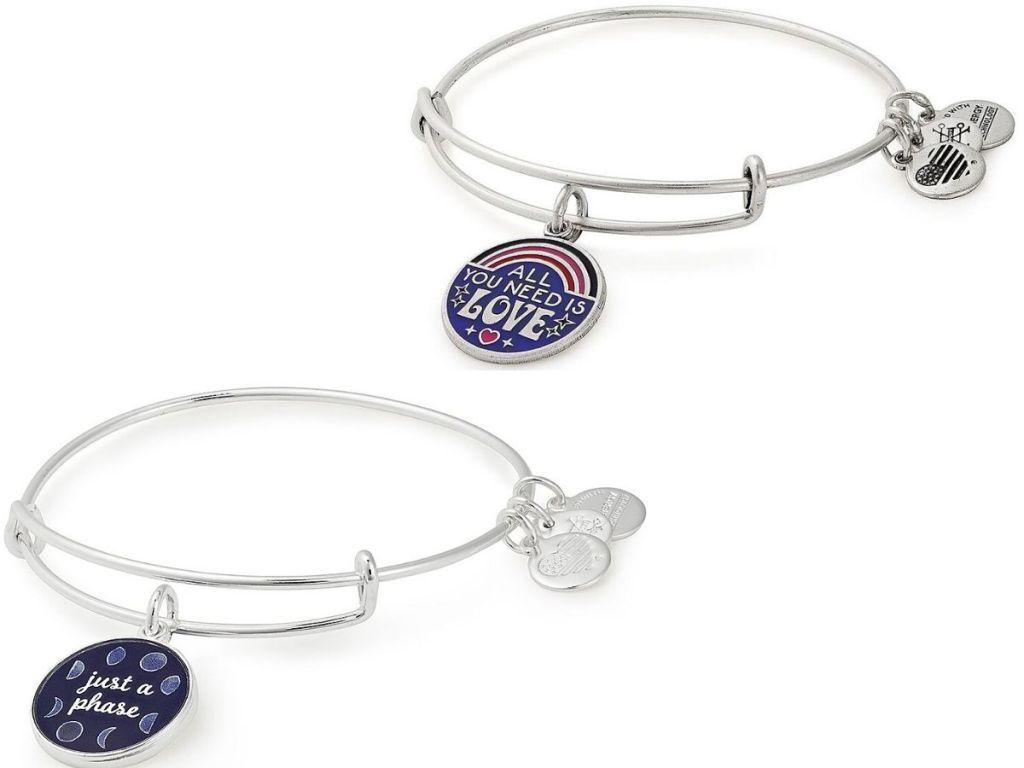 two bangle charm bracelets