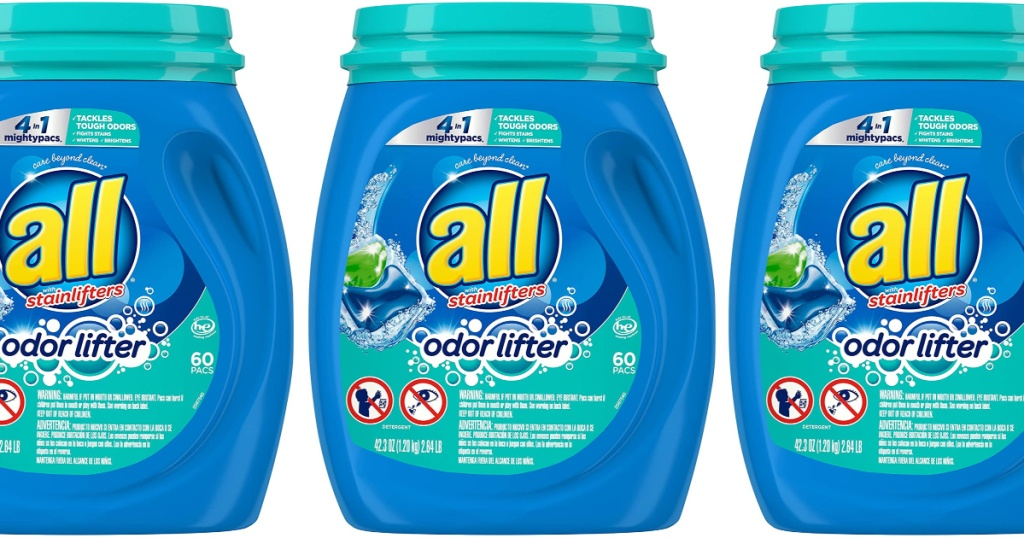 3 All Might Pacs Laundry Detergent lined up next to each other