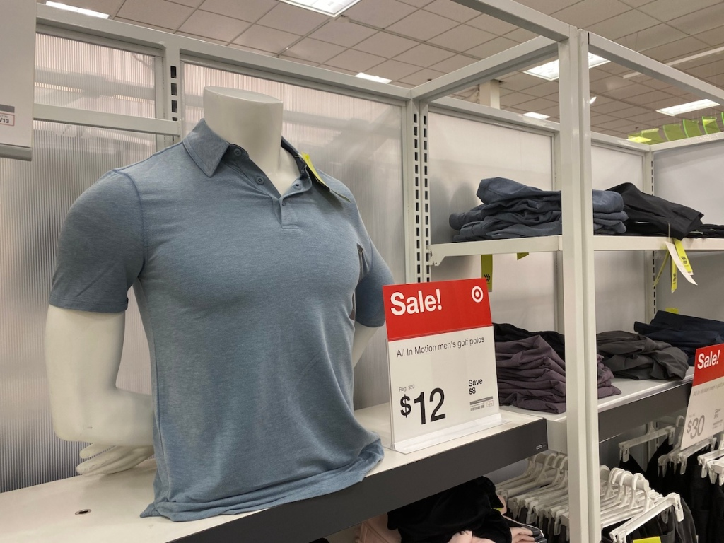 light grey blue all in motion polo on manaquin at target