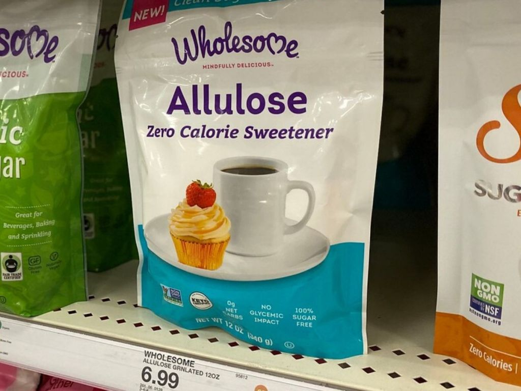 Bag of artifical sweetener on store shelf