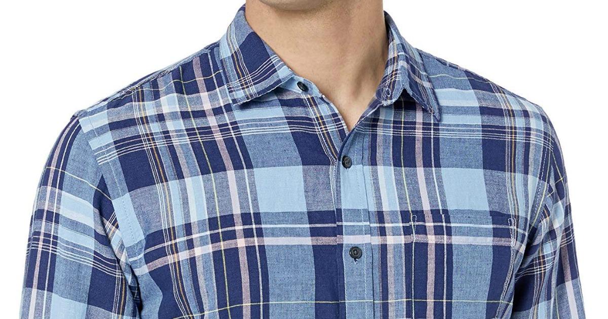 Man wearing Blue Plaid Shirt