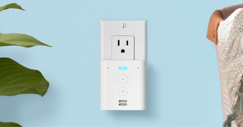 white plug-in mini smart speaker in outlet on blue wall in home